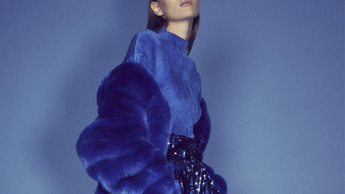 what to wear to a new year's party - Sally LaPointe Oversized Faux Fur Jacket and Asymmetric Sequined Stretch-Chiffon Pencil Skirt - moda operandi