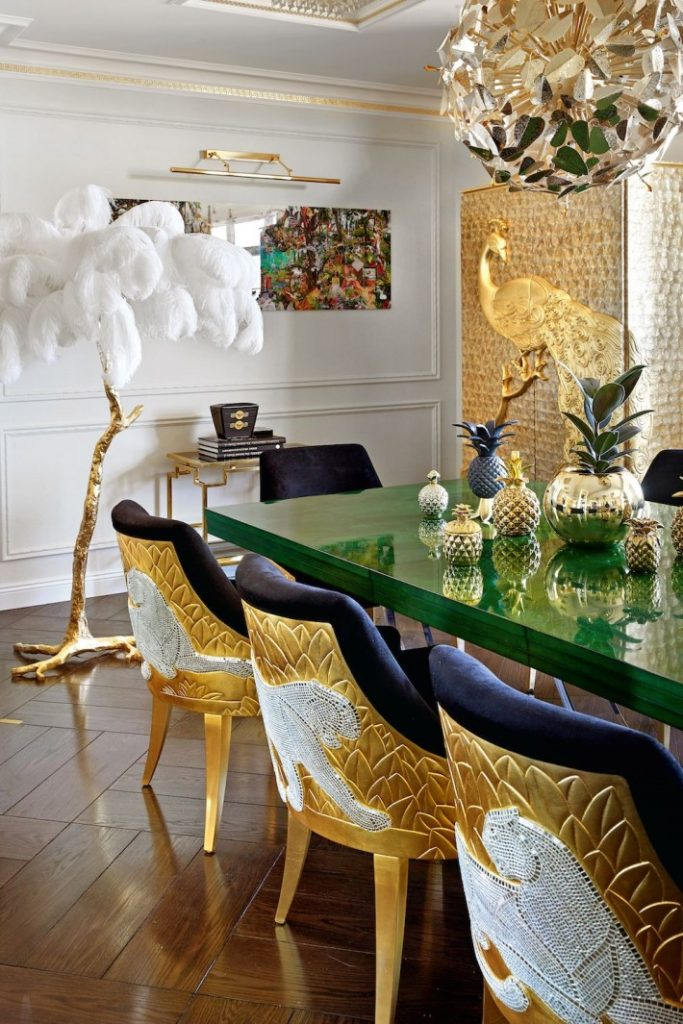 a luxury interior view of the opulent camilia armoire by koket in the  dining room of gia eradze designed by mironova design