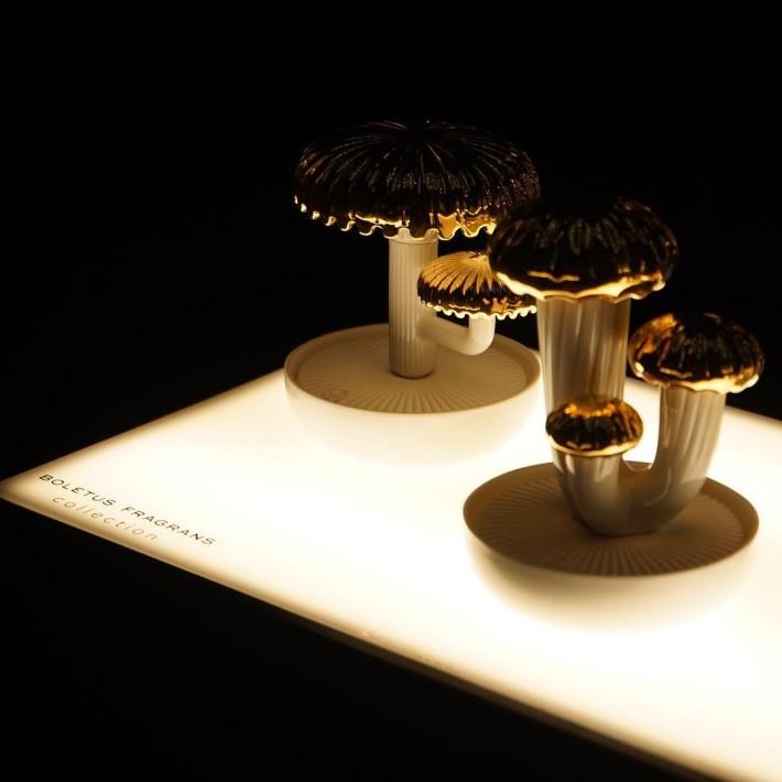 porcelain mushroom sculptures by Lladro luxury porcelain tabletop decor at maison et objet 2019