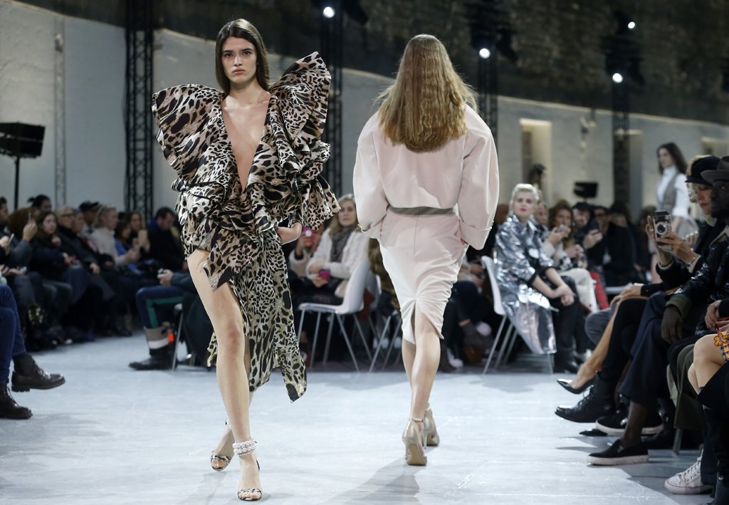 A model walks the runway during the Alexandre Vauthier Couture Spring Summer 2019 show in an animal print dress as part of Paris Fashion Week on January 22, 2019 in Paris, France. Paris Couture. (Photo by Thierry Chesnot/Getty Images)