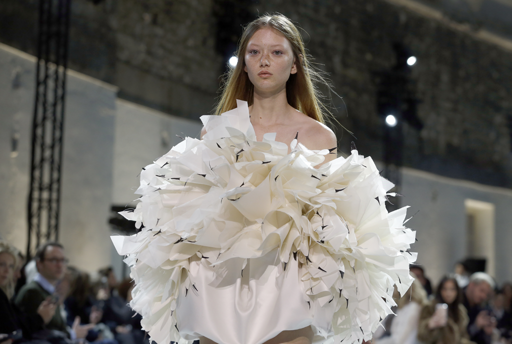 A model walks the runway during the Alexandre Vauthier Couture Spring Summer 2019 show in a white and cream sculptural dress as part of Paris Fashion Week on January 22, 2019 in Paris, France. Paris Couture. (Photo by Thierry Chesnot/Getty Images)