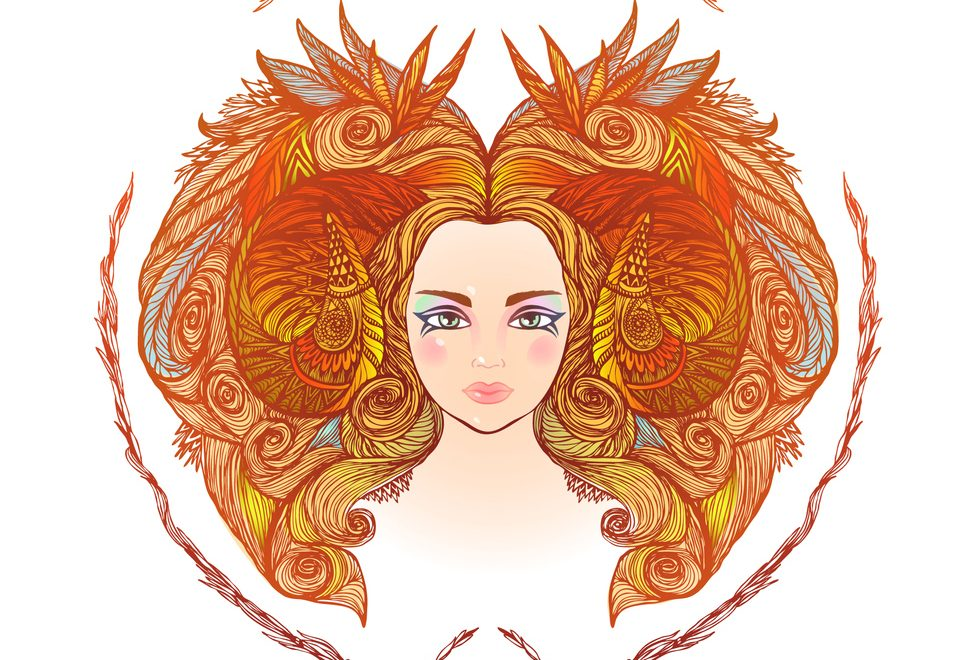 Hand drawn portrait of a beautiful woman. Vector illustration of Aries zodiac sign - april horoscope 2019