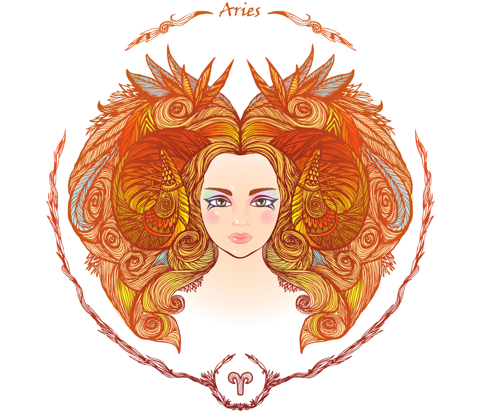 illustration of a woman representing 2019 horoscope aries zodiac sign