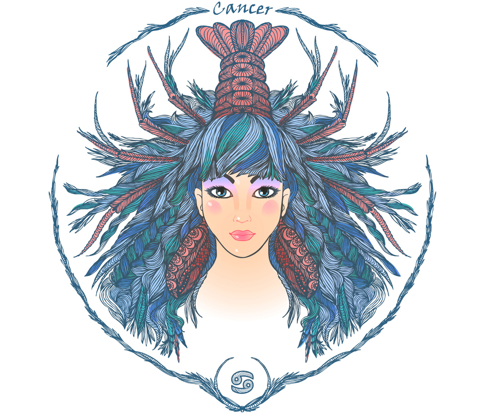 illustration of a woman representing cancer zodiac sign 2019 horoscope