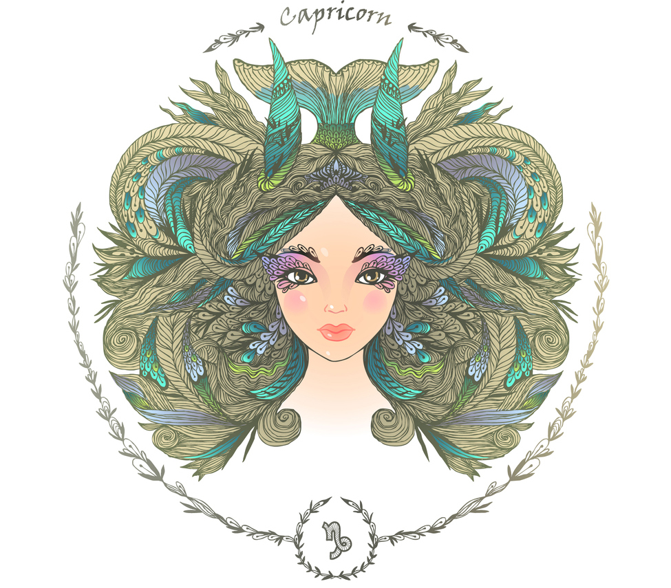 illustration of a woman representing capricorn zodiac sign 2019 horoscope