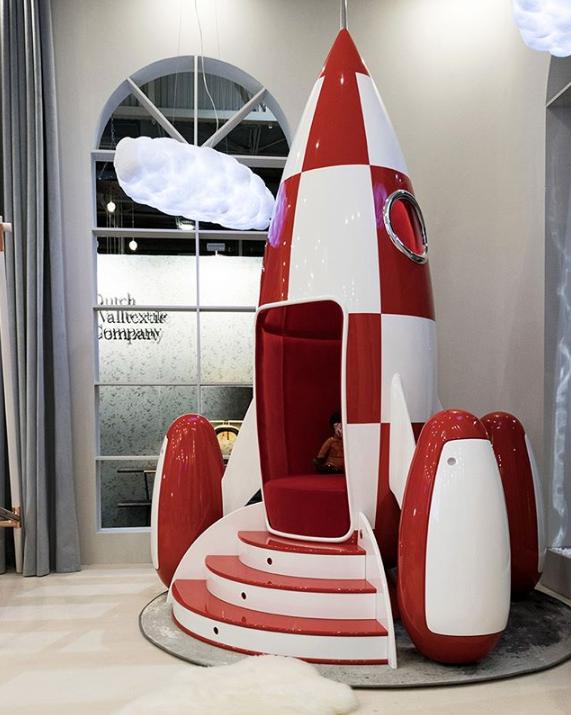 unique kids furniture - children's rocket ship sofa chair by circu at maison et objet 2019