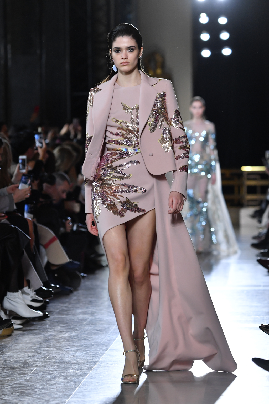 A model walks the runway during the Elie Saab Spring Summer 2019 show in a soft pink dress with beaded embellishments as part of Paris Fashion Week on January 23, 2019 in Paris, France. Paris Couture (Photo by Pascal Le Segretain/Getty Images)