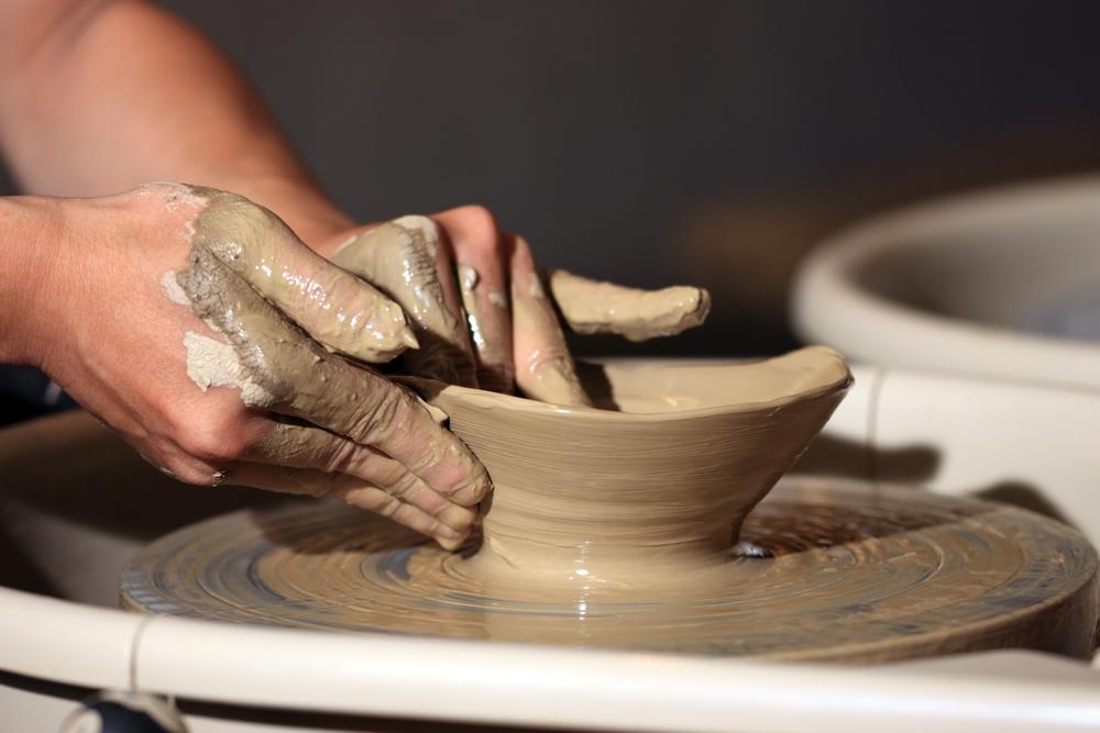 Esma Dereboy working on her ceramic art