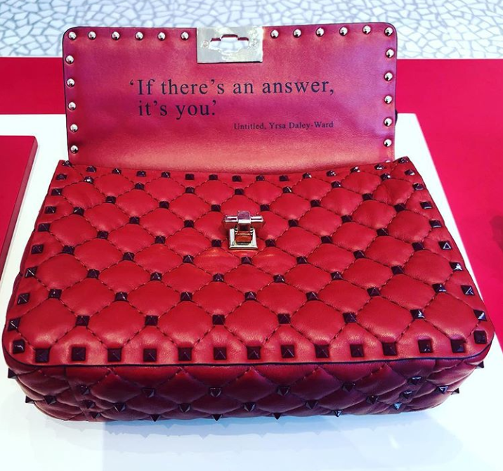 motivational quotes for women on a Valentino purse - if there's an answer it's you - untitled, yrsa daley ward