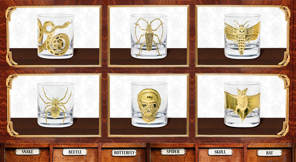 Cabinet of Curiosities Gilded Collection luxury glassware and luxury dinnerware by artel glass with gold snakes, beetles, spiders, etc at maison et objet 2019