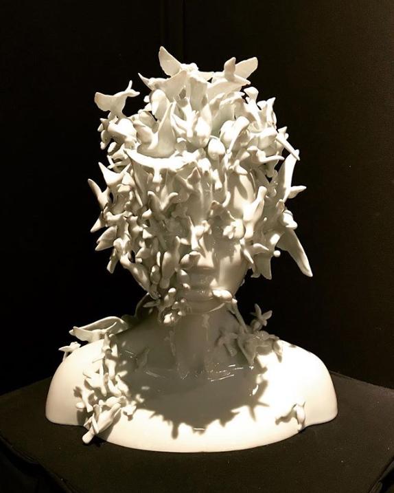 Cyanolica Nana Limoges Porcelain Sculpture by Juliette Clovis at Maison et Objet 2019