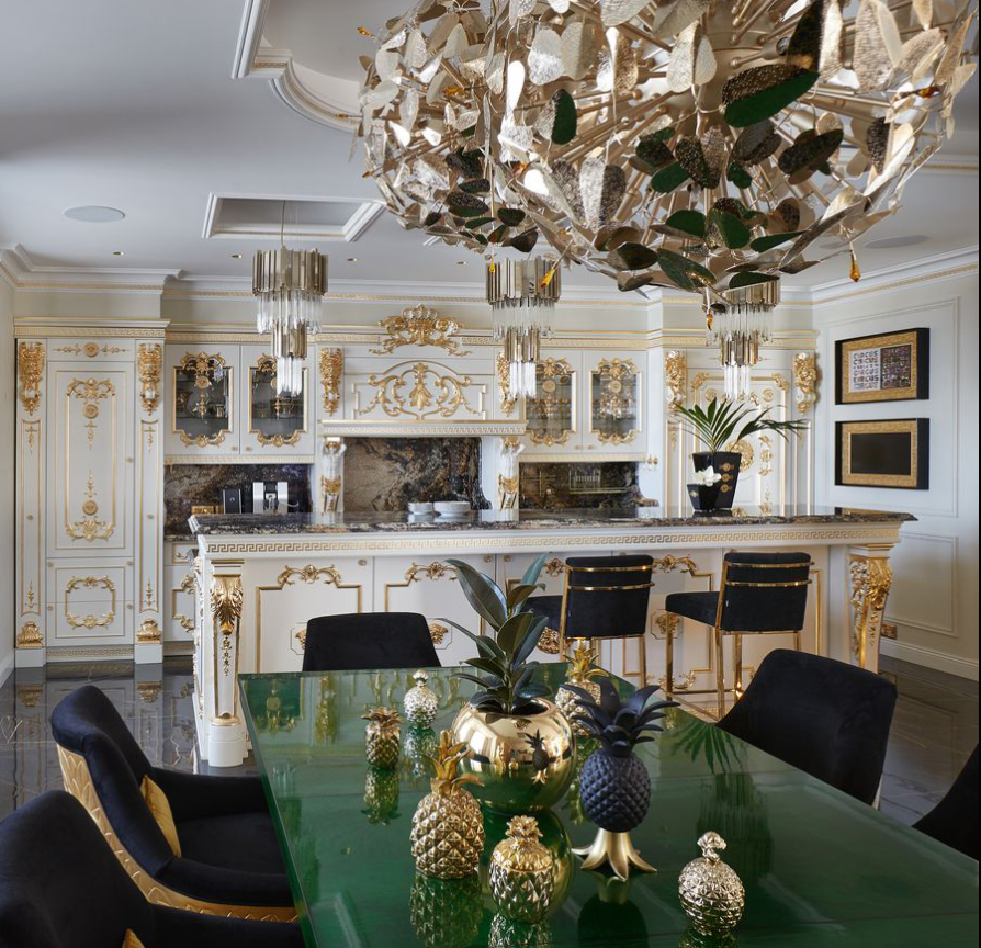 a luxury interior view of the luxurious kitchen in gia eradze's apartment designed by mironova design