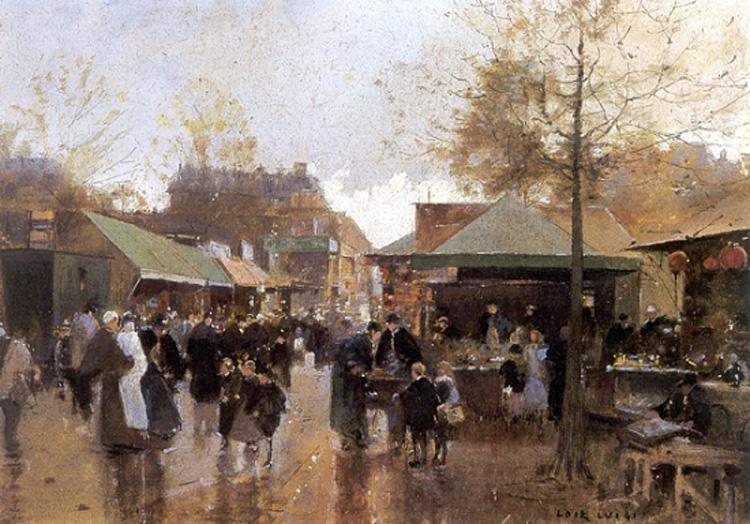 """Oil on canvas painting of the paris flea market """"Le marché aux puces, Porte de Clignancourt"""" by French painter and engraver Luigi Loir (1845-1916)."""
