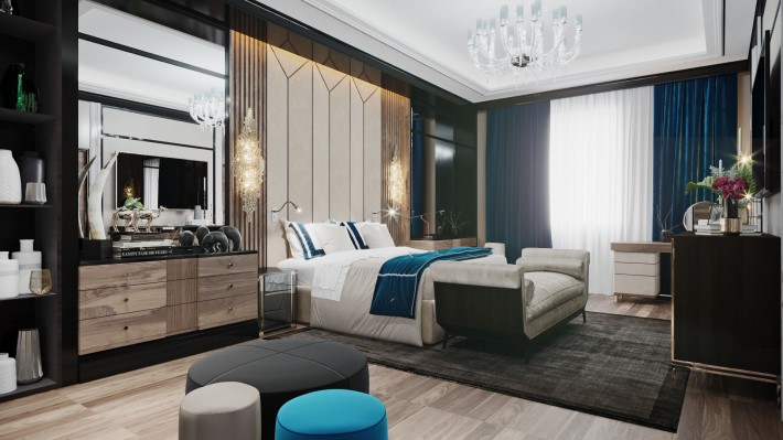 luxurious boutique hotel style Bedroom rendering by Desart Decor