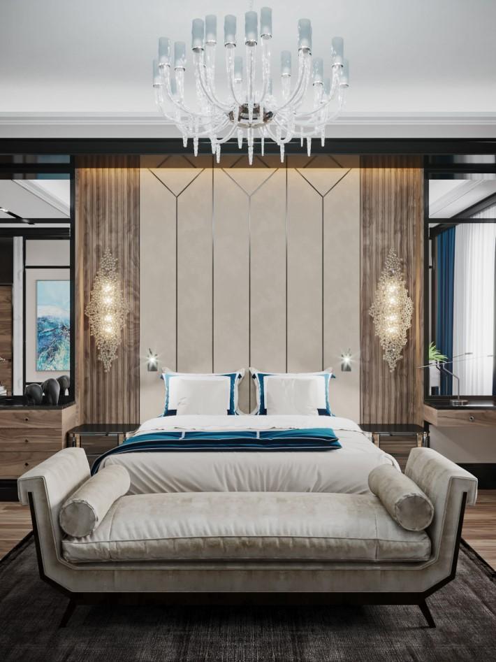 Bedroom design by Desart Decor moscow - koket eternity sconces - geometric art deco design