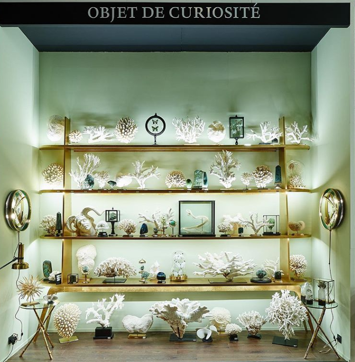 white coral and green mineral wall display by objet de curiosite at maison et objet 2019