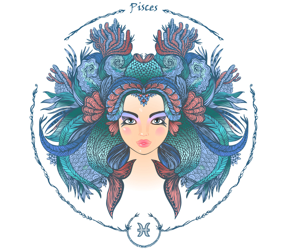 illustration of a woman representing pisces zodiac sign 2019 horoscope