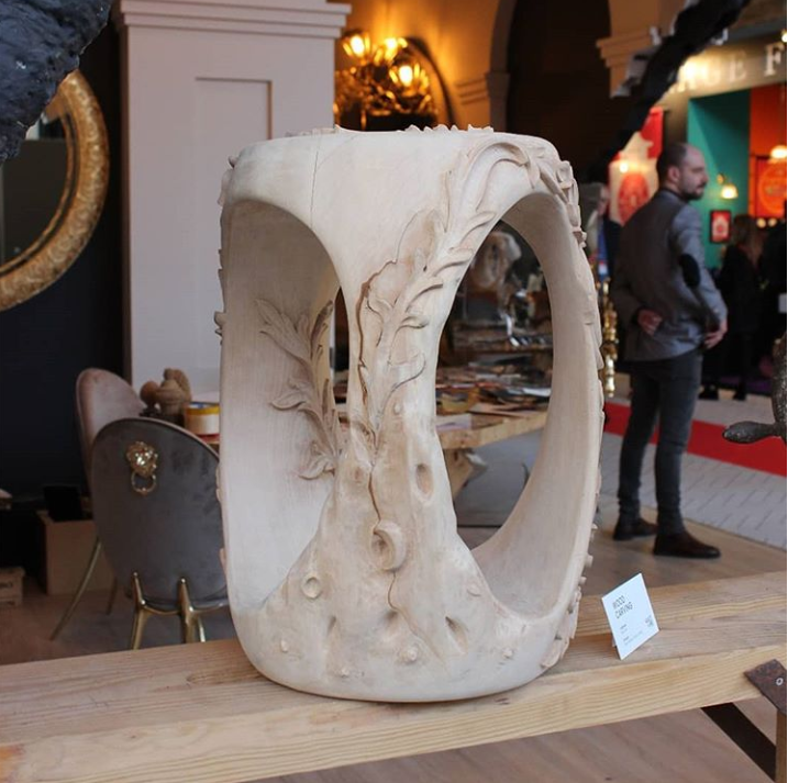 wood carved stool from project culture by covet foundation at maison et objet 2019
