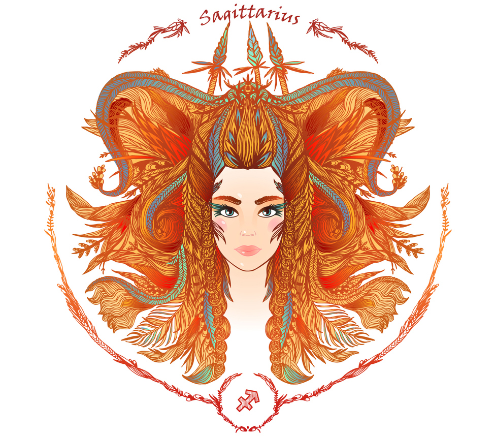 illustration of a woman representing sagittarius zodiac sign 2019 horoscope