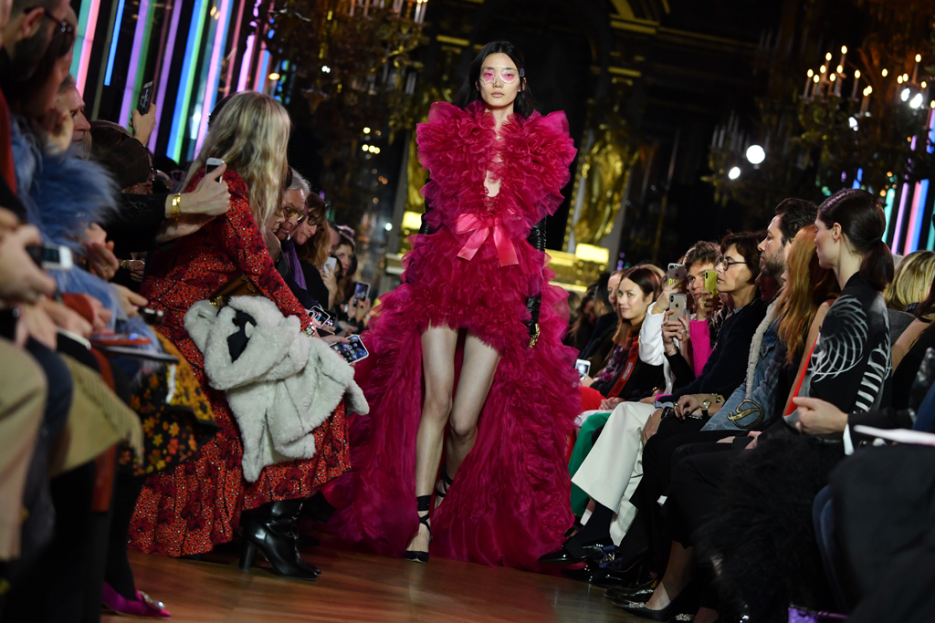A model walks the runway during the Schiaparelli couture Spring Summer 2019 show as part of Paris Fashion Week on January 21, 2019 in Paris, France. (Photo by Pascal Le Segretain/Getty Images)