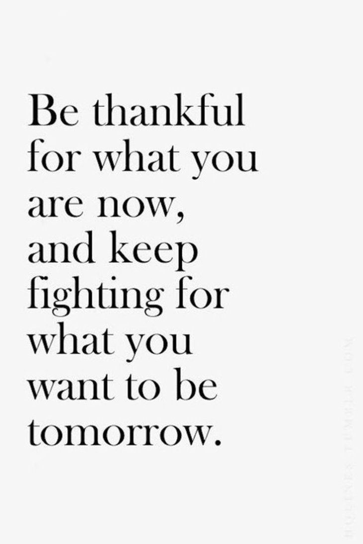 motivational quotes for women - be thankful for what you are now, and keep fighting for what you want to be tomorrow
