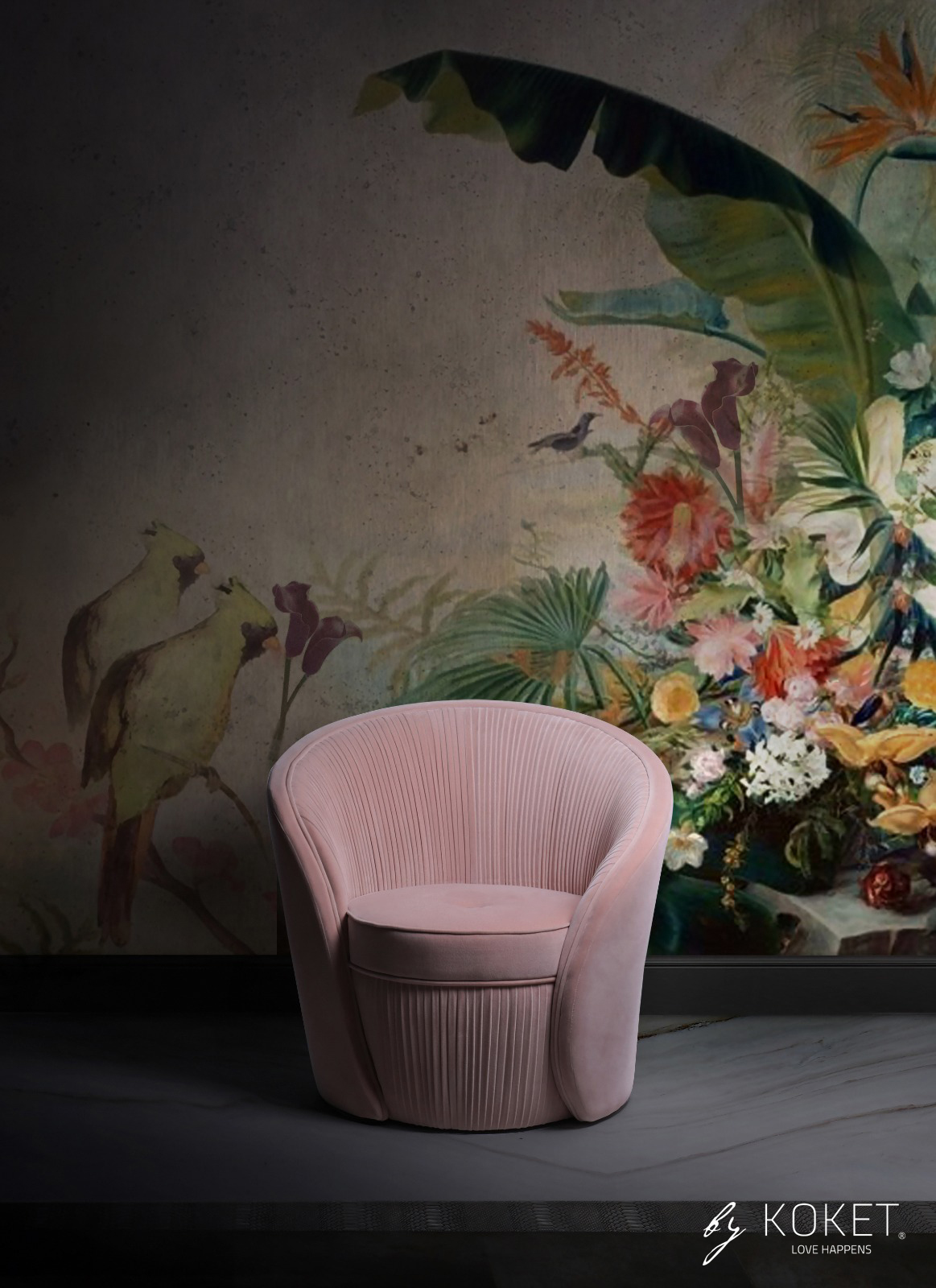 pink chair against a floral wallpaper background - bloom chair by koket - top new year's resolutions