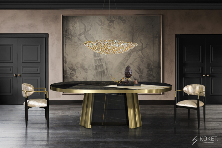 luxurious dining room featuring the brass and marble decodiva dining table, nahema chair, eternity 2 chandelier koket - top new year's resolutions