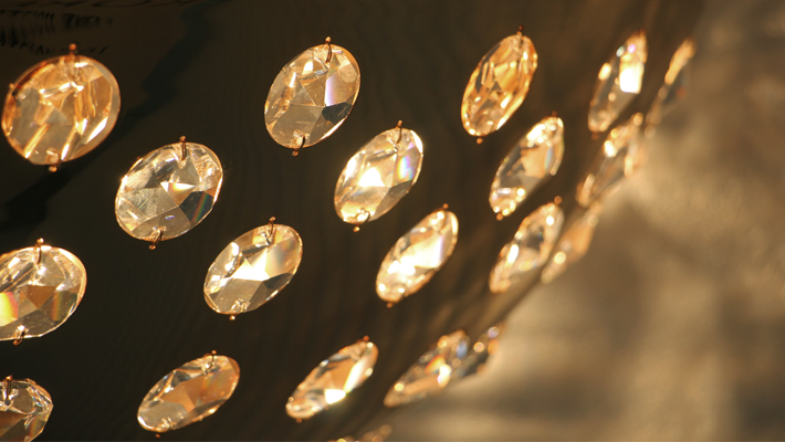 Detail of a Gold and Crystal Chandelier - Kasehsiah Chandelier KOKET - Top New Year's Resolutions
