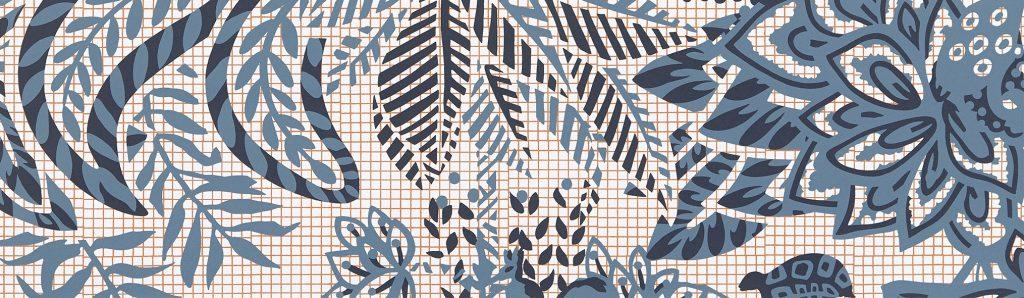 hermes wallpaper grid with natural motifs over it - dedar - paris deco off