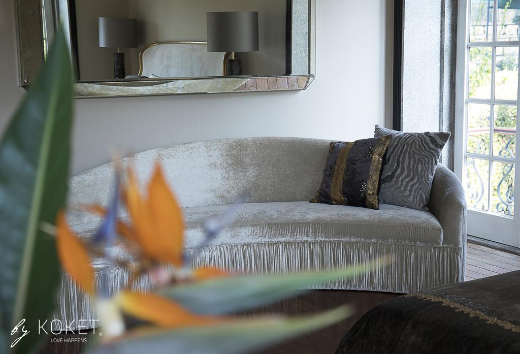 curved cream vamp II sofa by koket in a dream master bedroom - maison et objet 2019