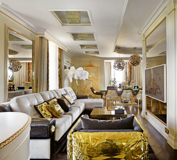 a luxury interior view of the opulent living room in the apartment of gia eradze designed by mironova design