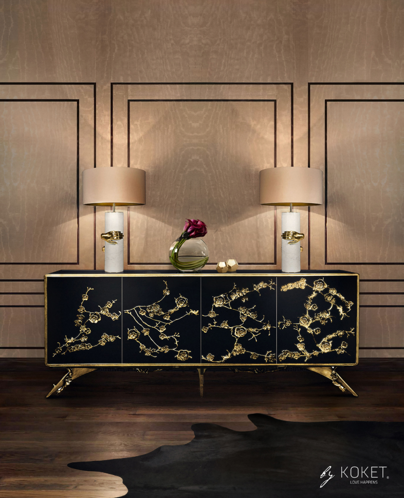 maison et objet 2019 - koket's enchanted cabinet sideboard in black with brass flowers and two koket vengance table lamps with white marble bodies grasped by brass hands