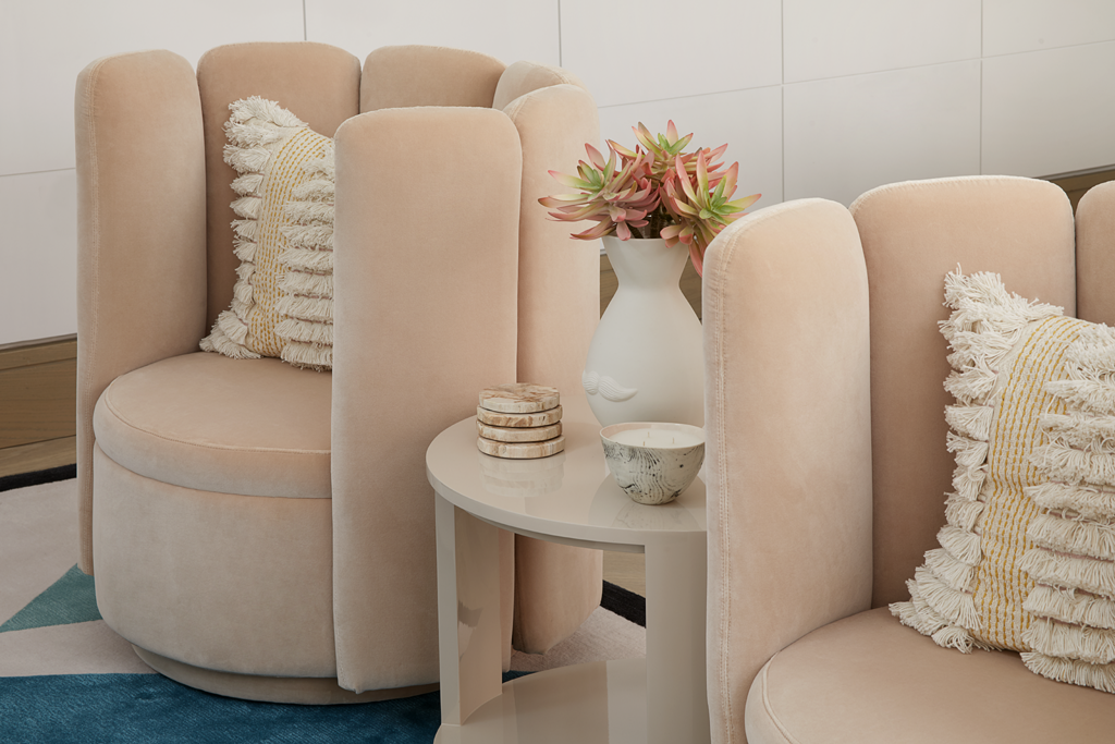 light pink chairs in a Playful Interior by Elycion