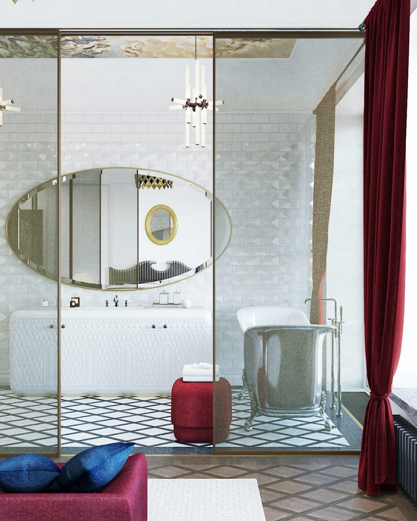 russian renaissance bathroom design by vadim maltsev with white tile, a historic painted ceiling and a large oval mirror