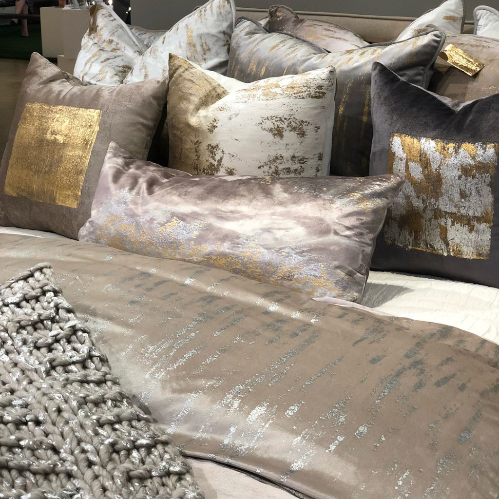 cloud9 metallic bedding and decorative pillows, the perfect dream master bedroom