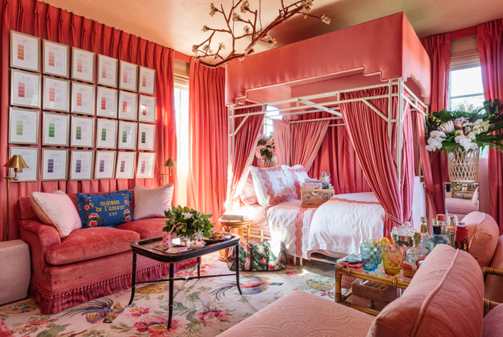 pink bedroom design by Danielle Rollins at Kips Bay showhouse palmbeach 2019 - Photo Credit Nickolas Sargent