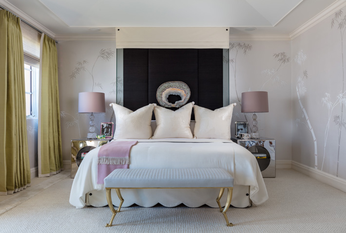 master bedroom design by David Mitchell Brown at Kips Bay showhouse palm beach 2019 - Photo Credit Nickolas Sargent