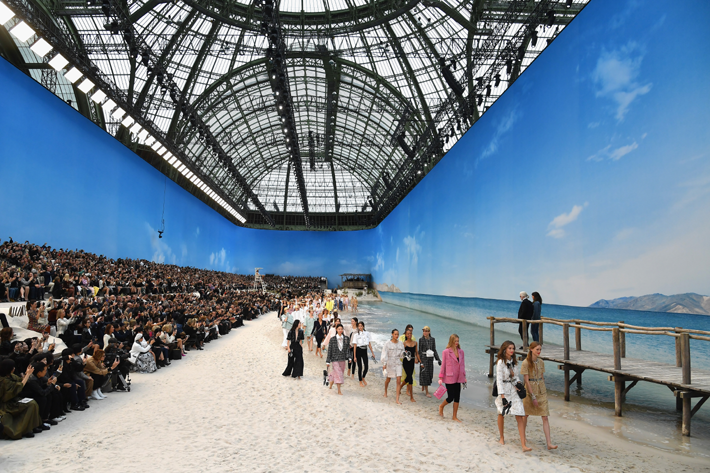 PARIS, FRANCE - OCTOBER 02: Models walk the runway during the Chanel show by Karl Lagerfeld as part of the Paris Fashion Week Womenswear Spring/Summer 2019 on October 2, 2018 in Paris, France. (Photo by Pascal Le Segretain/Getty Images)