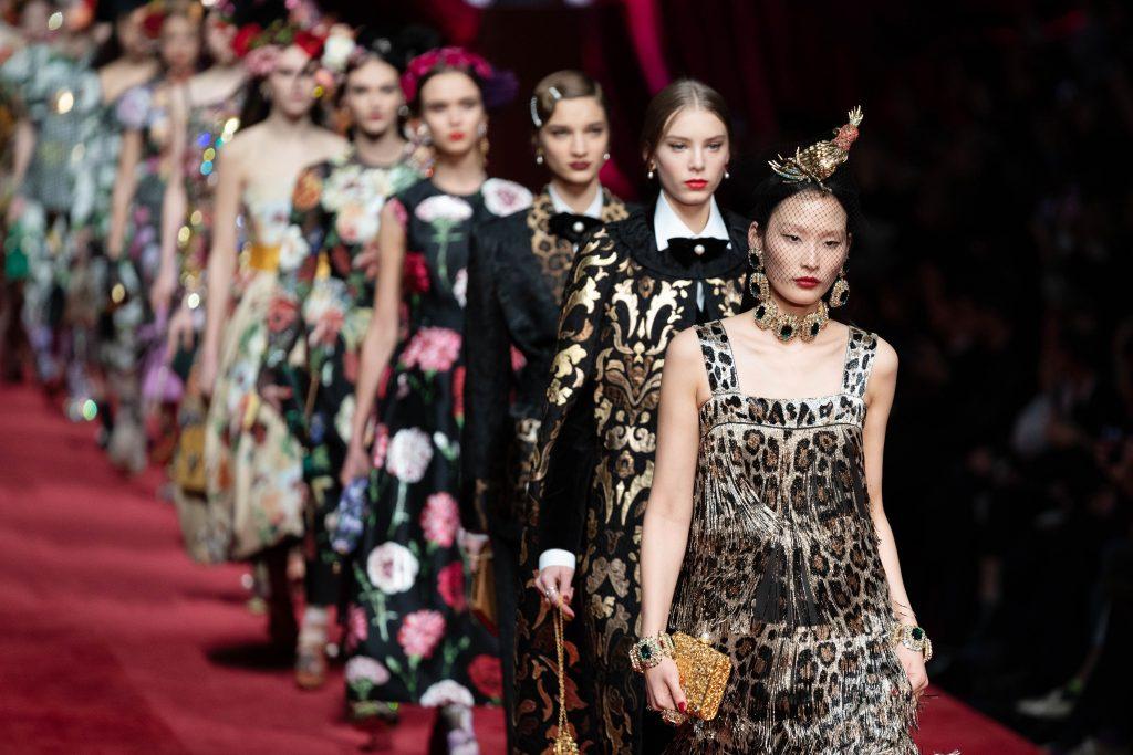 models walk the runway at the Dolce & Gabbana show milan fashion week fall 2019