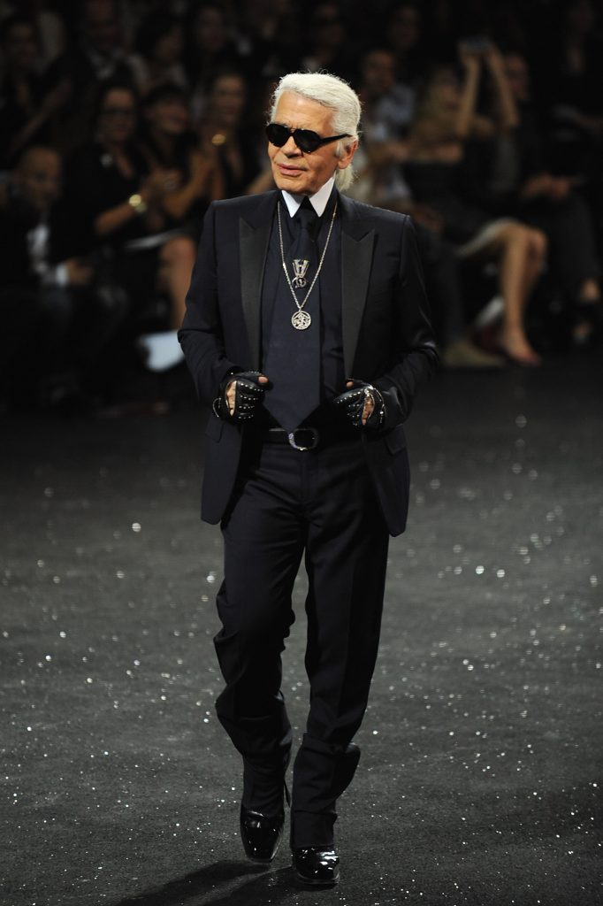 Karl Lagerfeld walks the runway during the Chanel Haute Couture Fall/Winter 2011/2012 show as part of Paris Fashion Week at Grand Palais on July 5, 2011 in Paris, France.  Source: Photo by Pascal Le Segretain/Getty Images