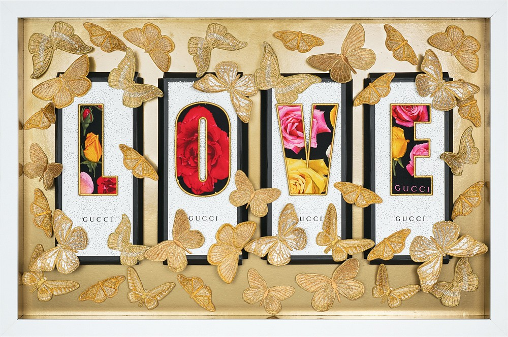 wall art with the word love and gucci logos covered by 3d gold butterflies by stephen wilson  - Lh Valentine's Day Gift Guide - Luxurious Gifts for Her