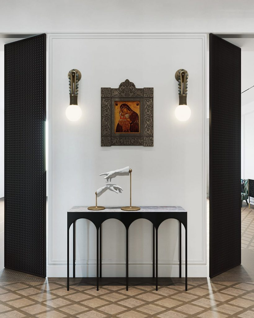 Interior design by Vadim Maltsev featuring sconces by Apparatus, BYZANTIUM Console by Vadim Maltsev, and 'The Creation of Adam' Sculpture