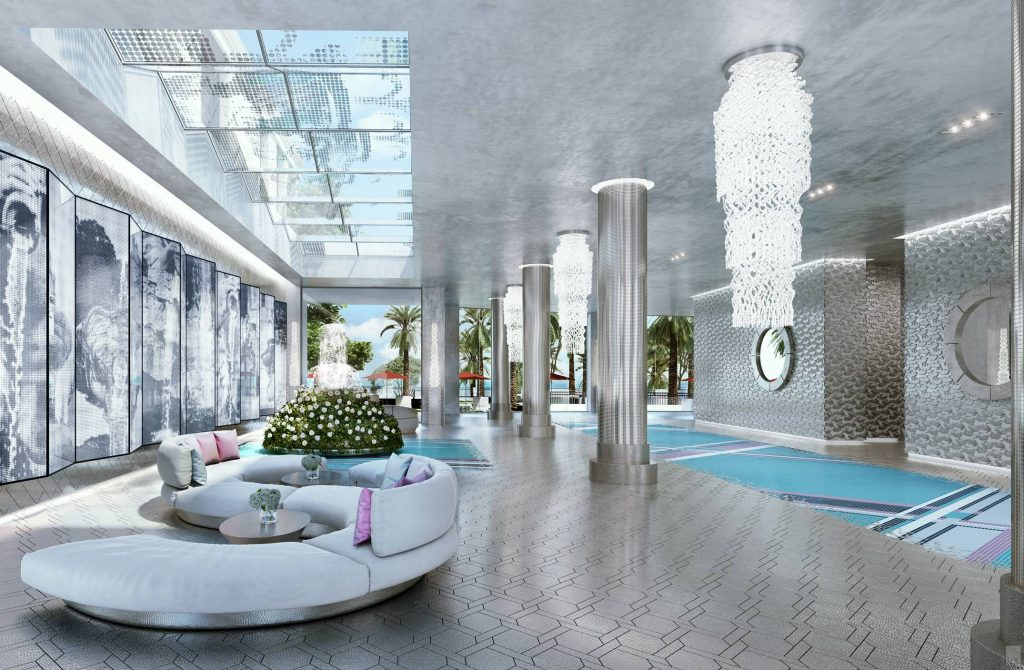 Karl Lagerfeld Interior Design of the Lobby at Miami's Estates at Acqualina