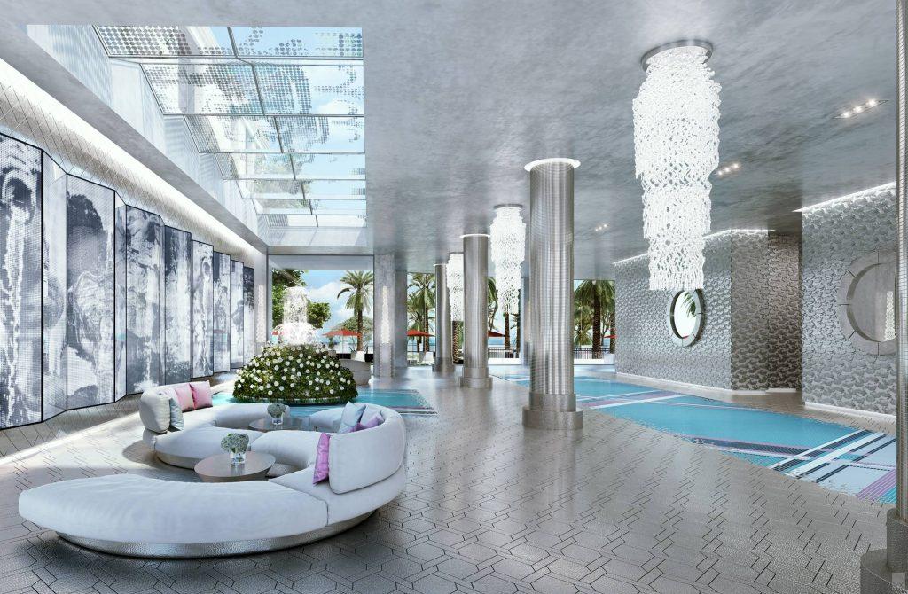 Karl Lagerfeld Interior Design of the Lobby at Miami's Estates at Acqualina