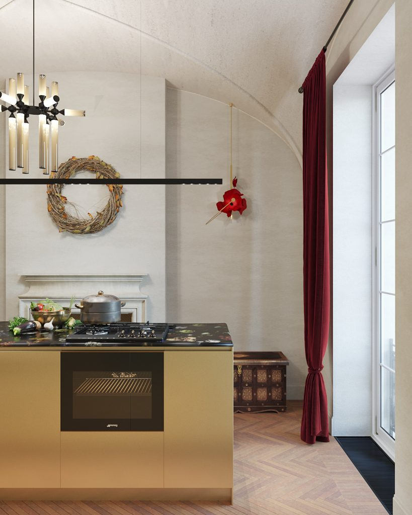 russian renaissance kitchen design with gold cabinets and arched vault ceilings designed by valdim maltsev