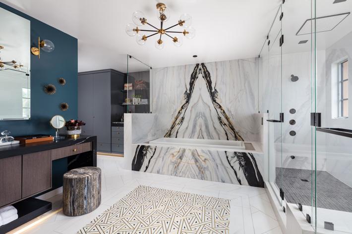 master bathroom design by Krista Watterworth Alterman at Kips Bay showhouse palm beach 2019 - Photo Credit Nickolas Sargent