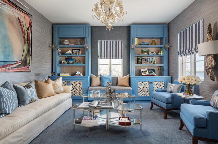 den with blue built in cabinet designed by Leanne Yarn at Kips Bay showhouse palm beach 2019 - Photo Credit Nickolas Sargent