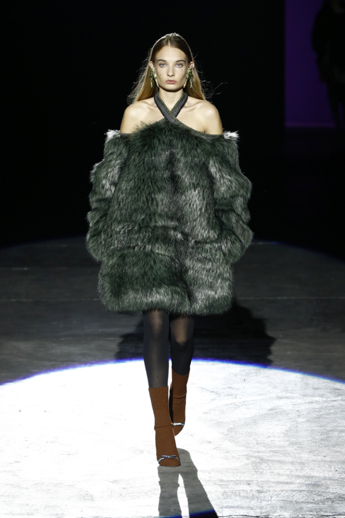 a model walks the runway in a green  fur dress at the marco de vincenzo fashion show at milan fashion week fall 2019