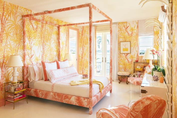 a vibrant pink and yellow bedroom design by Meg Braff Designs at kips bay showhouse palm beach 2019 - photo by Nicholas Mele Photography