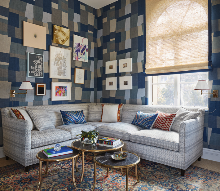 blue and gray room by Peter Dunham at Kips Bay Showhouse Photo Credit Brantley Photography